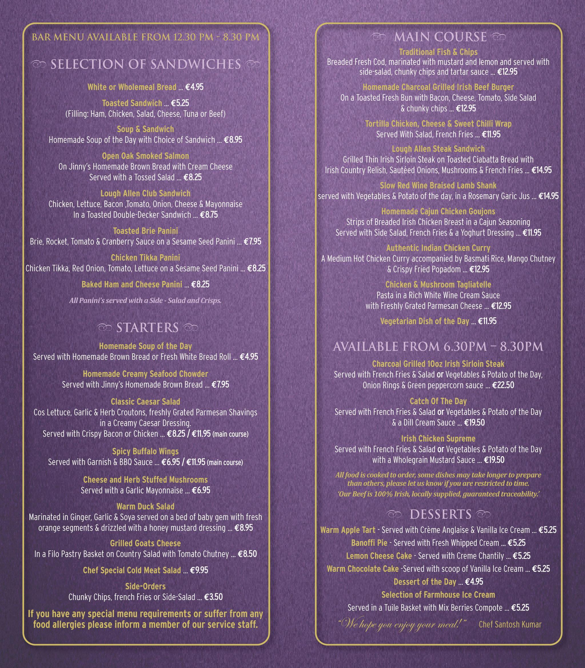 Lough Allen Restaurant Lough Allen Hotel Restaurant Menu